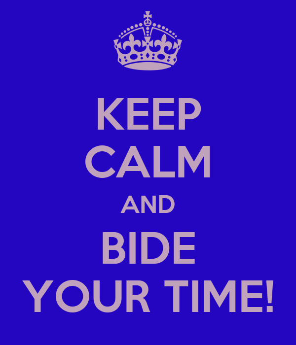 KEEP CALM AND BIDE YOUR TIME!