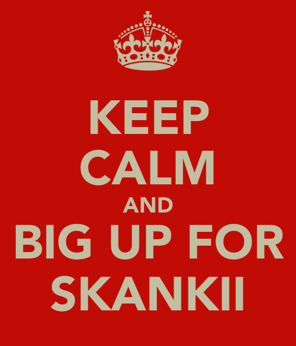 KEEP CALM AND BIG UP FOR SKANKII