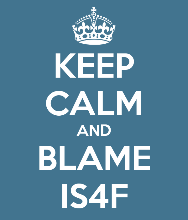 KEEP CALM AND BLAME IS4F