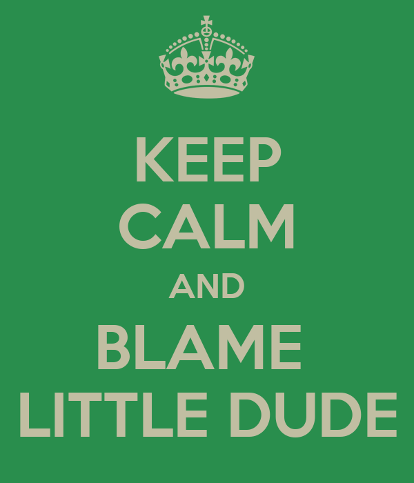 KEEP CALM AND BLAME  LITTLE DUDE