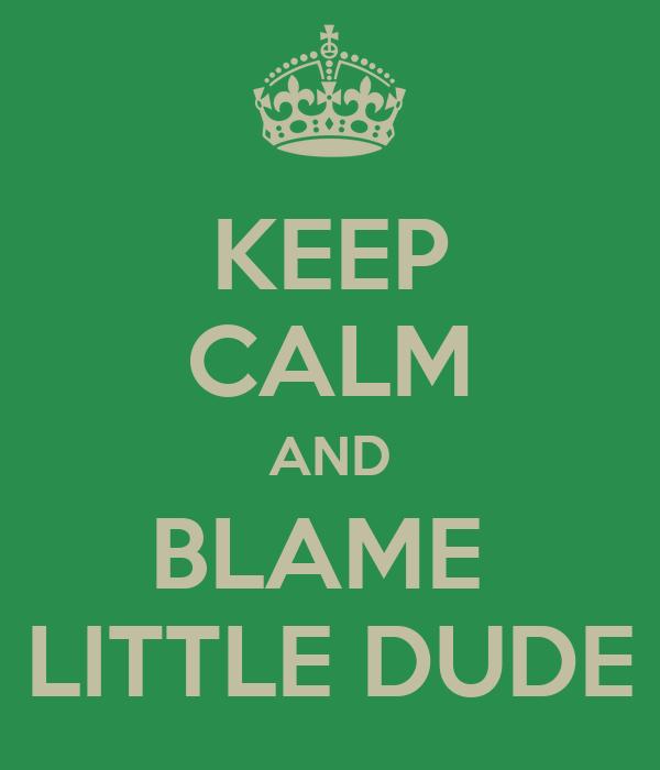 KEEP CALM AND BLAME  LITTLE DUDE