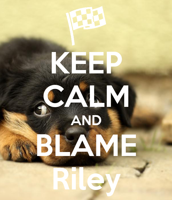KEEP CALM AND BLAME Riley