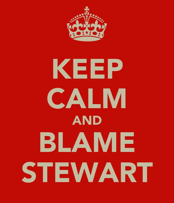 KEEP CALM AND BLAME STEWART
