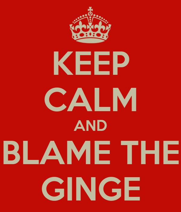 KEEP CALM AND BLAME THE GINGE