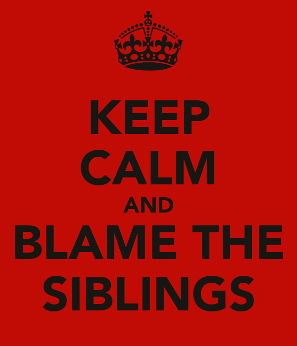 KEEP CALM AND BLAME THE SIBLINGS
