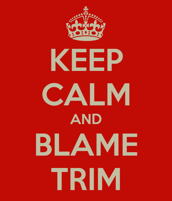 KEEP CALM AND BLAME TRIM