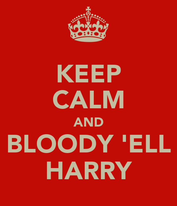 KEEP CALM AND BLOODY 'ELL HARRY