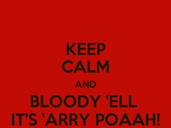 KEEP CALM AND BLOODY 'ELL  IT'S 'ARRY POAAH!