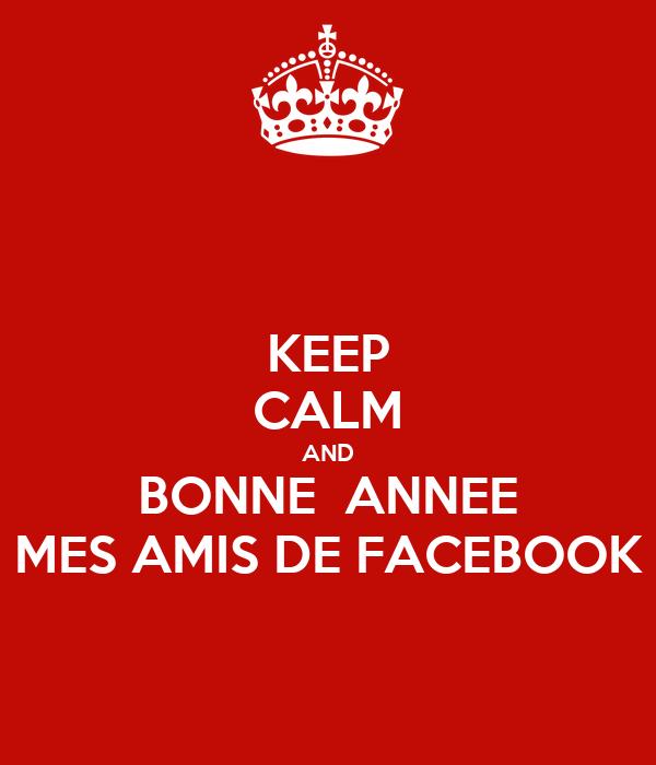 KEEP CALM AND BONNE  ANNEE MES AMIS DE FACEBOOK