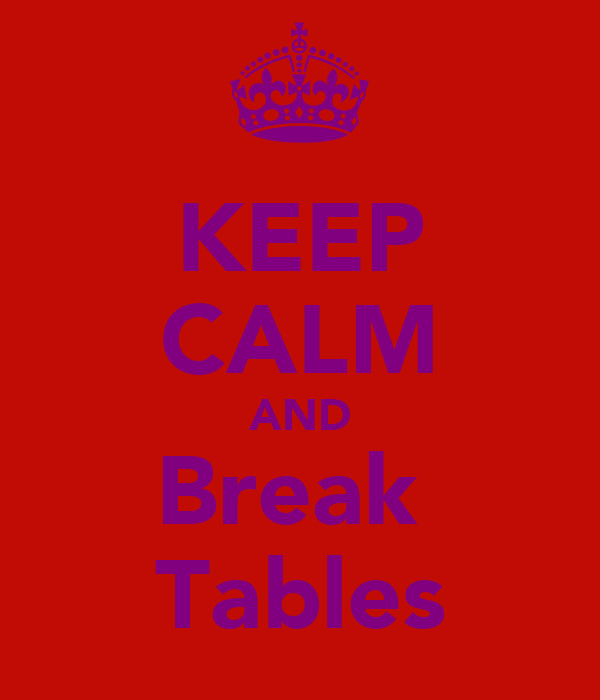KEEP CALM AND Break  Tables