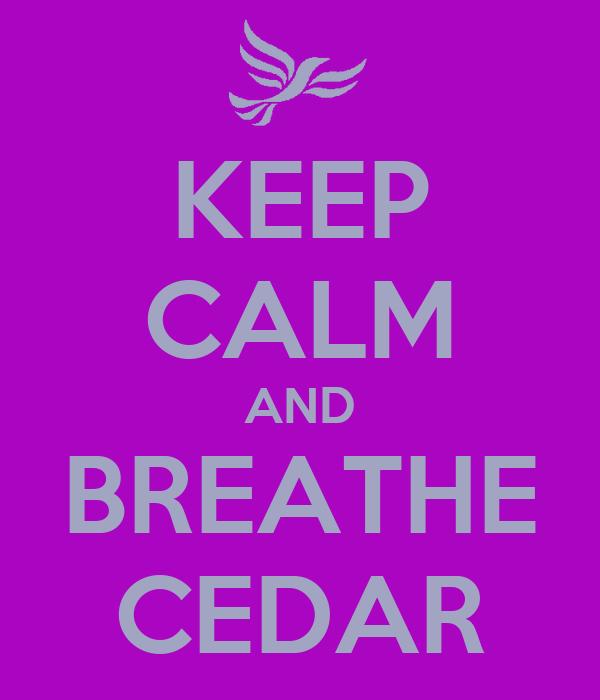 KEEP CALM AND BREATHE CEDAR