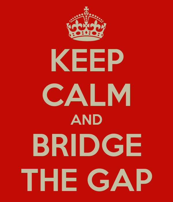 KEEP CALM AND BRIDGE THE GAP