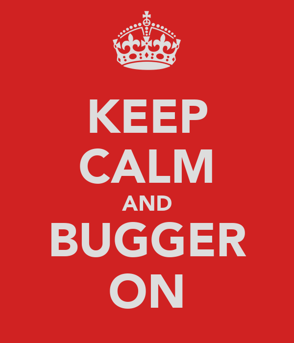 KEEP CALM AND BUGGER ON