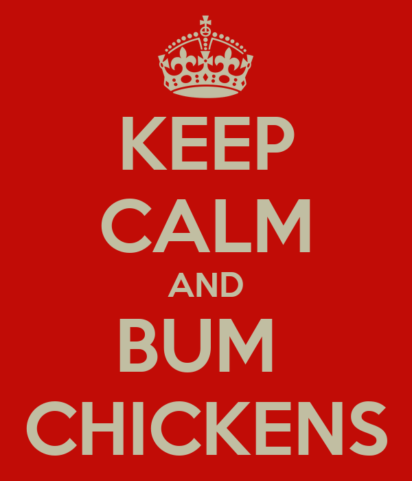 KEEP CALM AND BUM  CHICKENS