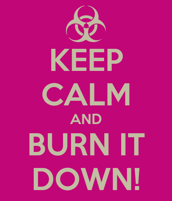 KEEP CALM AND BURN IT DOWN!