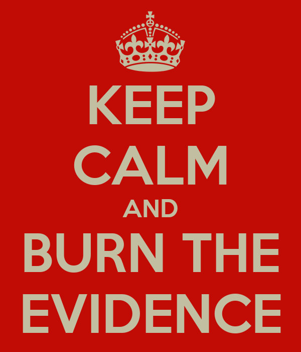 KEEP CALM AND BURN THE EVIDENCE
