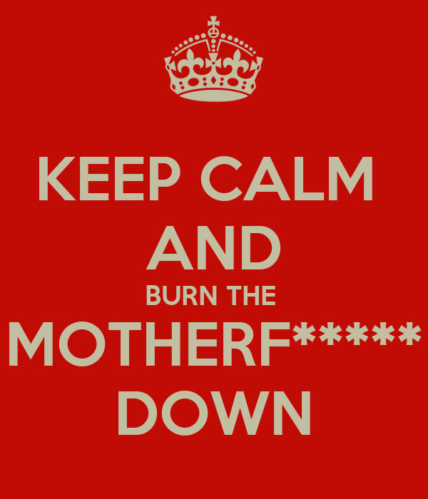 KEEP CALM  AND BURN THE  MOTHERF***** DOWN