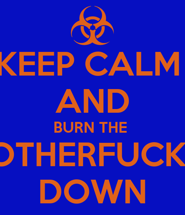 KEEP CALM  AND BURN THE  MOTHERFUCKER DOWN