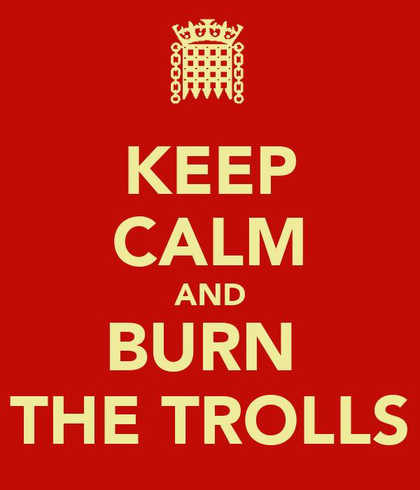 KEEP CALM AND BURN  THE TROLLS