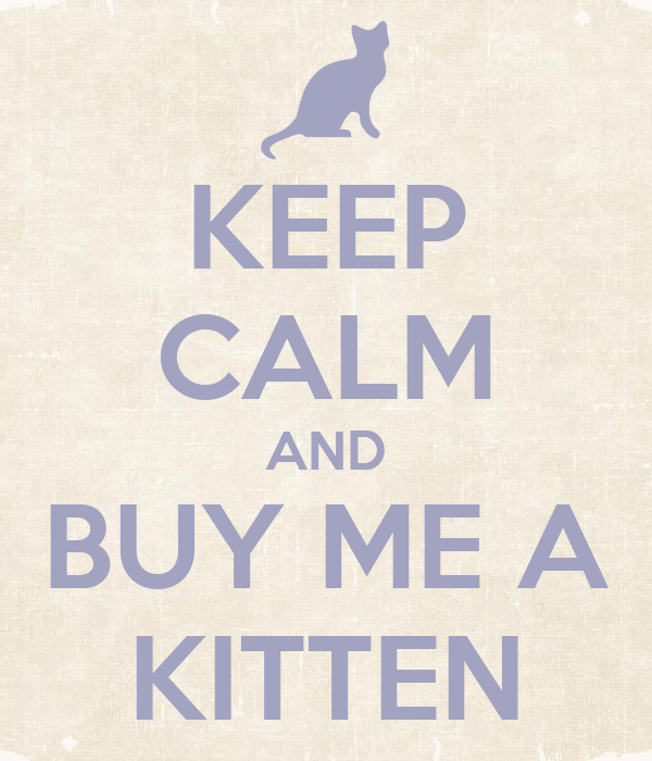 KEEP CALM AND BUY ME A KITTEN