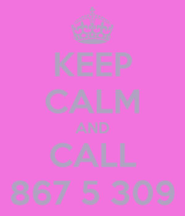KEEP CALM AND CALL 867 5 309