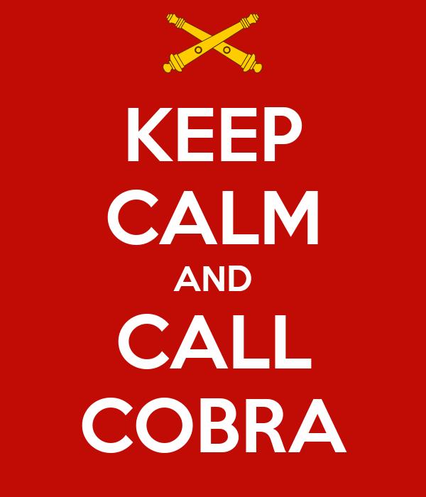 KEEP CALM AND CALL COBRA