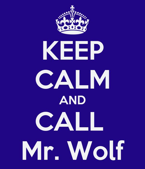KEEP CALM AND CALL  Mr. Wolf