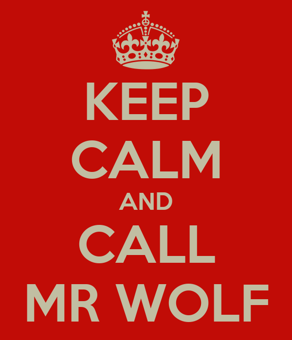 KEEP CALM AND CALL MR WOLF