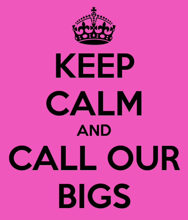KEEP CALM AND CALL OUR BIGS