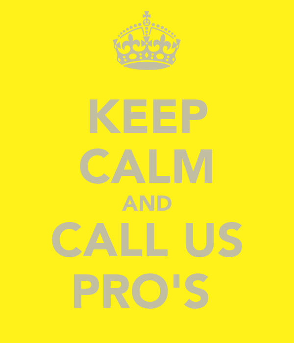KEEP CALM AND CALL US PRO'S