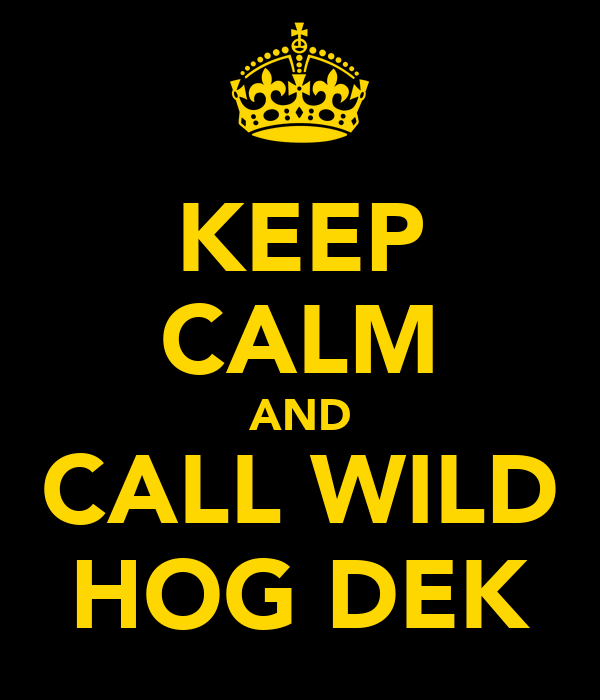 KEEP CALM AND CALL WILD HOG DEK