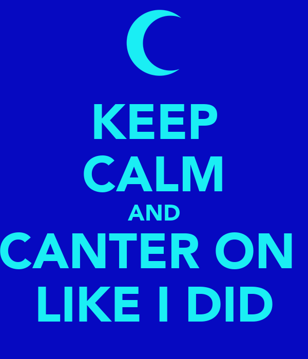 KEEP CALM AND CANTER ON  LIKE I DID