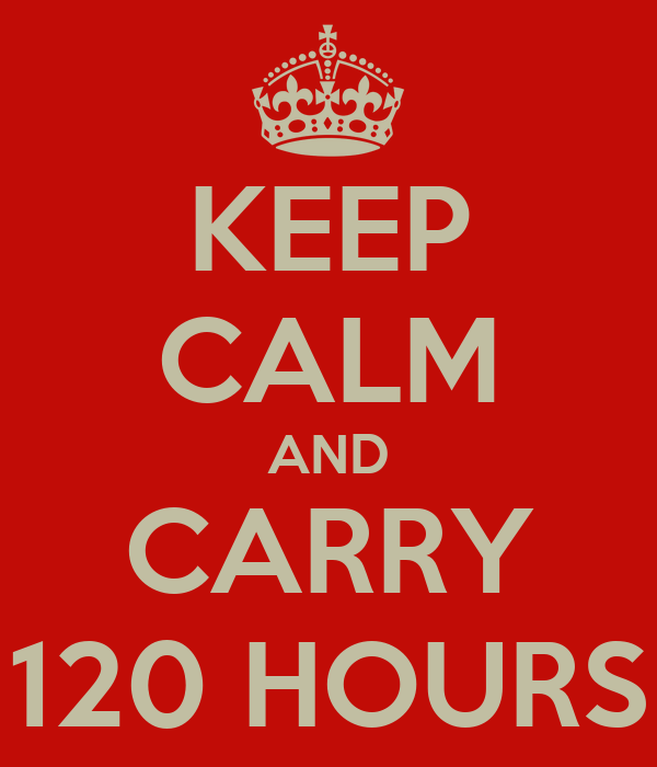 KEEP CALM AND CARRY 120 HOURS