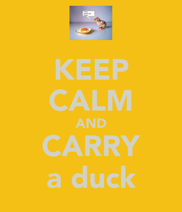 KEEP CALM AND CARRY a duck