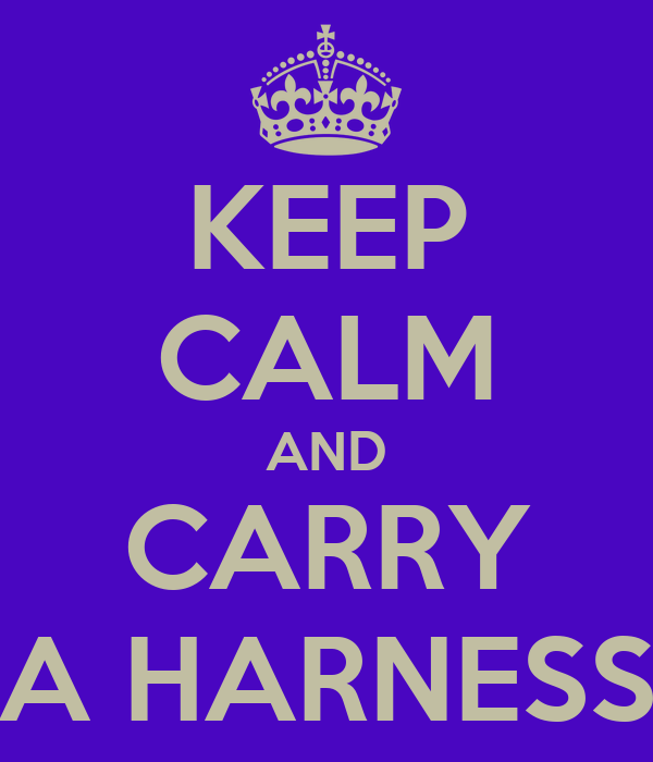 KEEP CALM AND CARRY A HARNESS