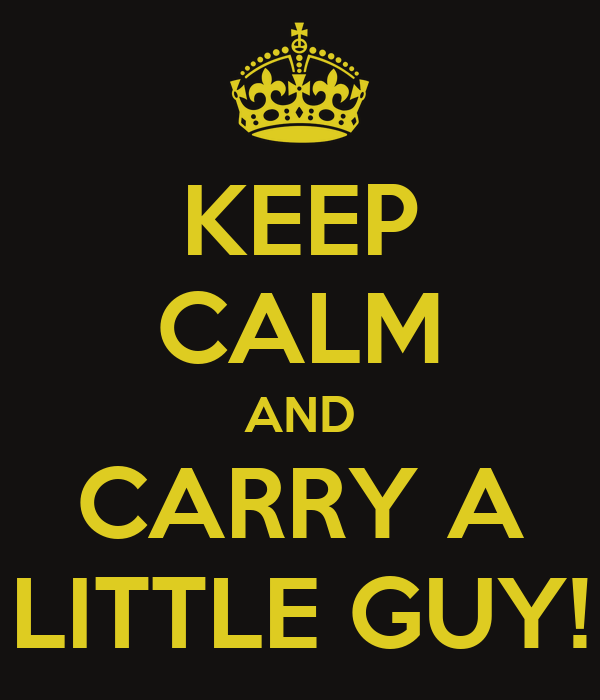 KEEP CALM AND CARRY A LITTLE GUY!