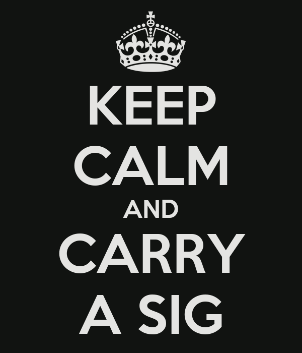 KEEP CALM AND CARRY A SIG