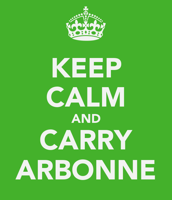 KEEP CALM AND CARRY ARBONNE