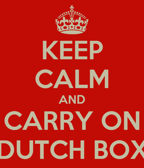 KEEP CALM AND CARRY ON DUTCH BOX