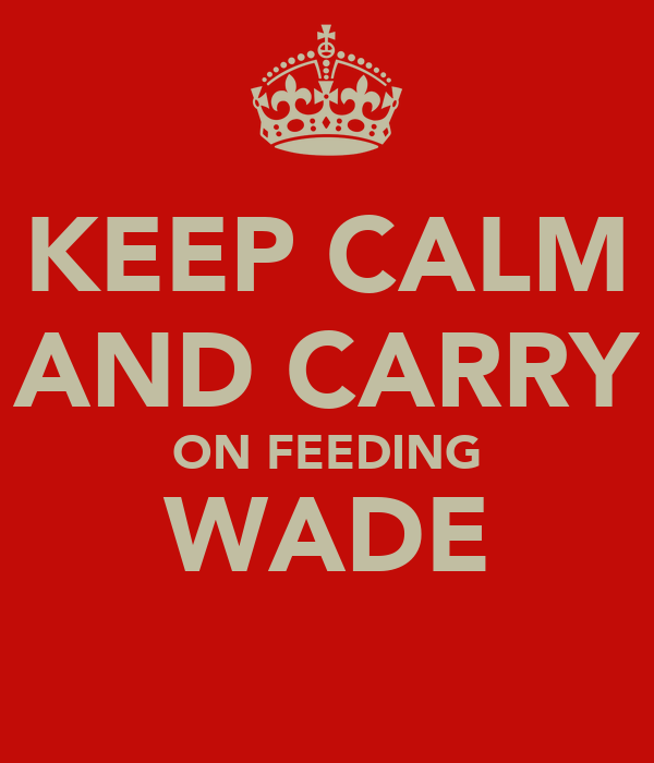 KEEP CALM AND CARRY ON FEEDING WADE