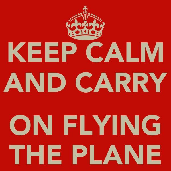 KEEP CALM AND CARRY  ON FLYING THE PLANE