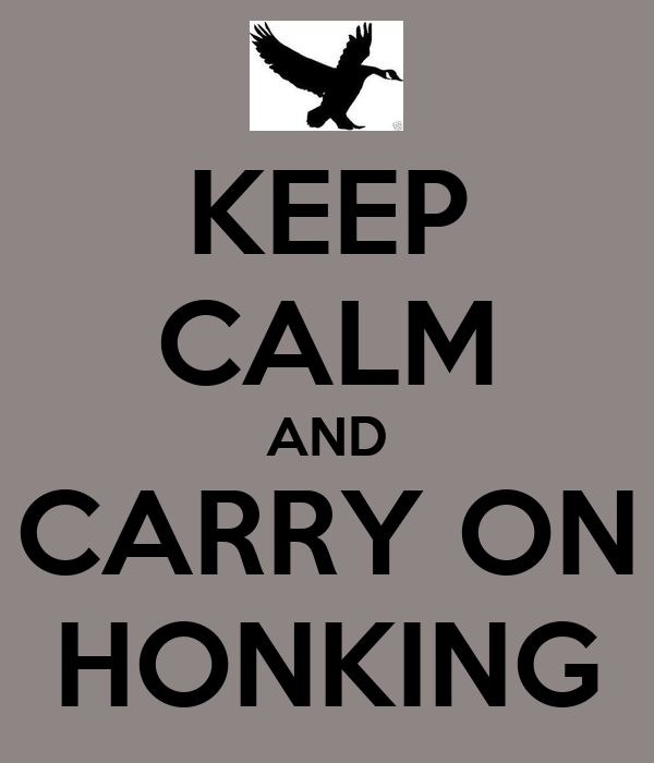 KEEP CALM AND CARRY ON HONKING