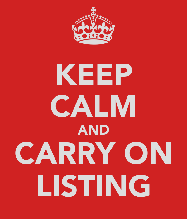 KEEP CALM AND CARRY ON LISTING