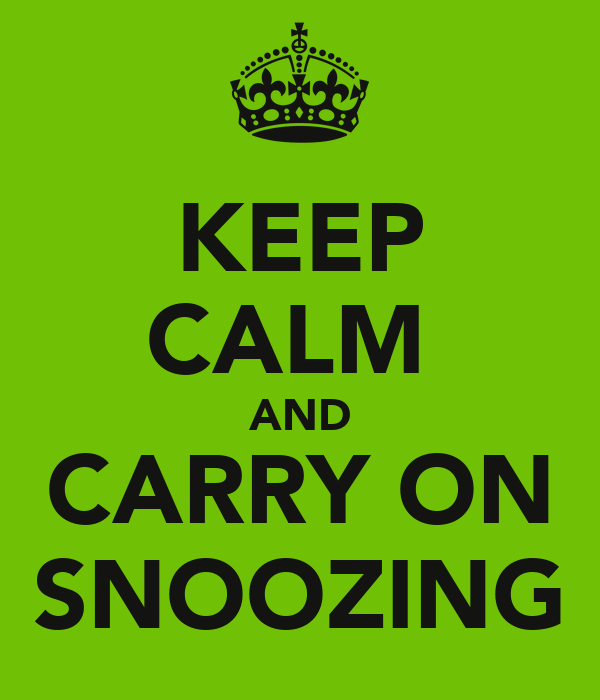 KEEP CALM  AND CARRY ON SNOOZING