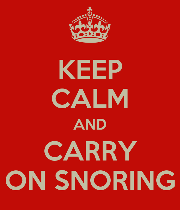 KEEP CALM AND CARRY ON SNORING