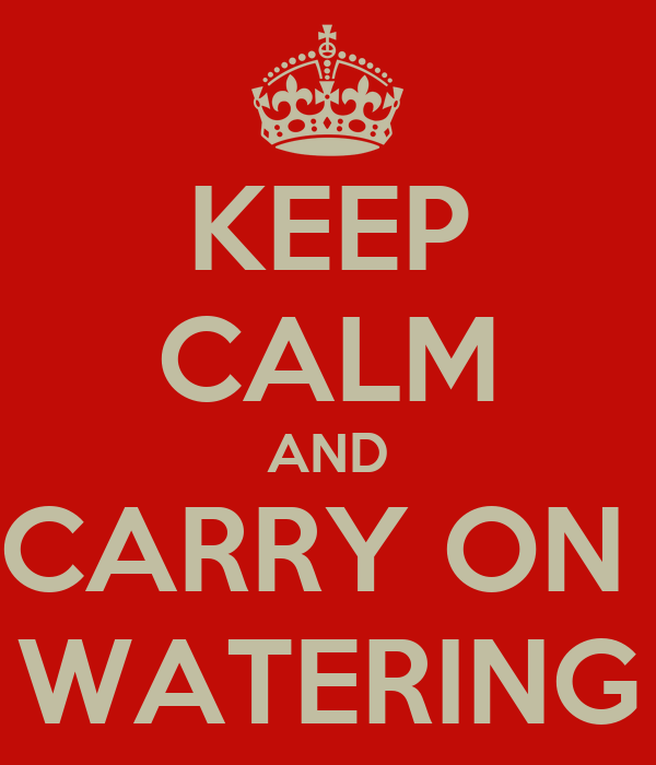 KEEP CALM AND CARRY ON  WATERING