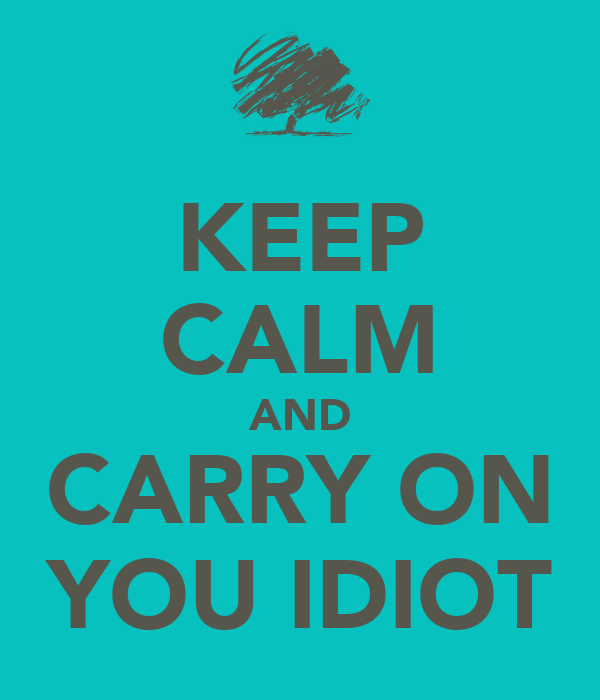 KEEP CALM AND CARRY ON YOU IDIOT
