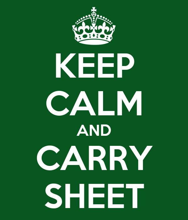 KEEP CALM AND CARRY SHEET