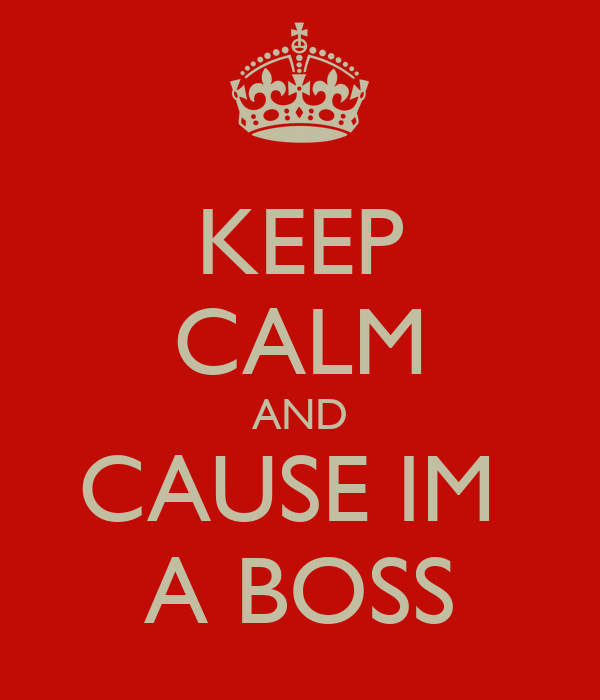 KEEP CALM AND CAUSE IM  A BOSS