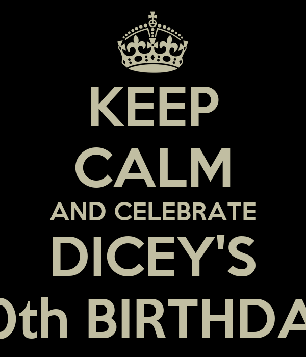 KEEP CALM AND CELEBRATE DICEY'S 20th BIRTHDAY